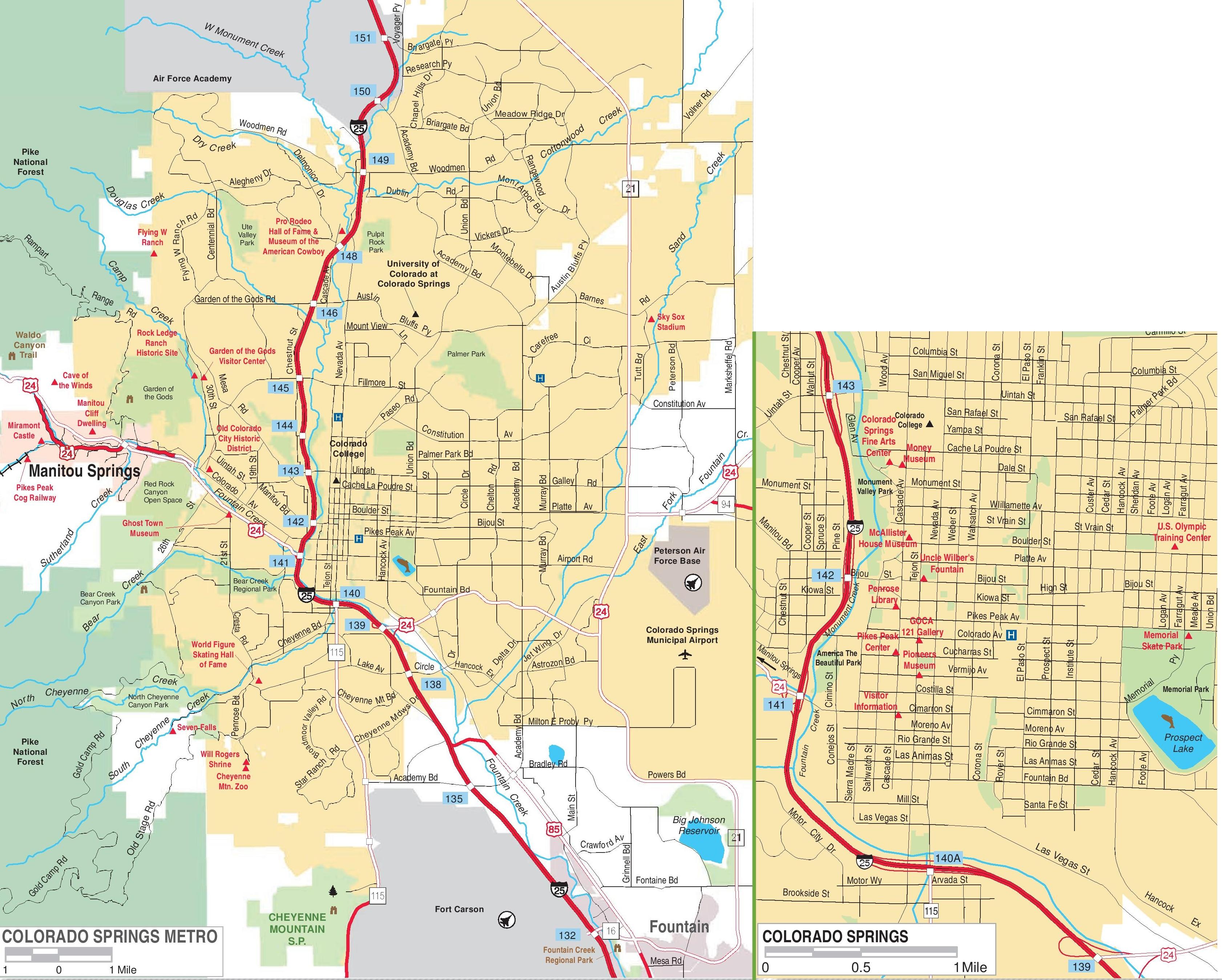 Map Of Colorado Springs Colorado Colorado Springs road map