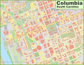 Columbia downtown map