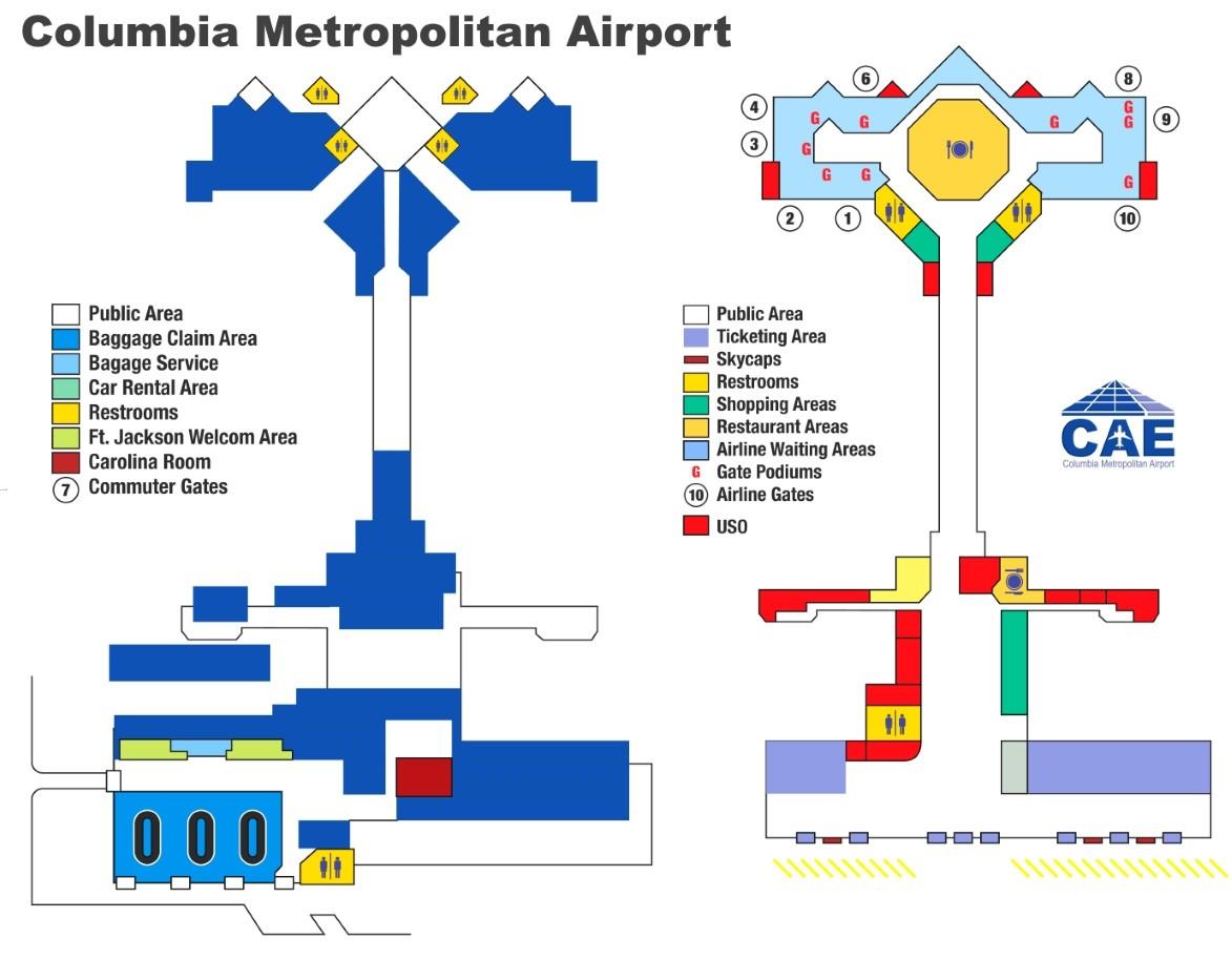Columbia Metropolitan Airport Map