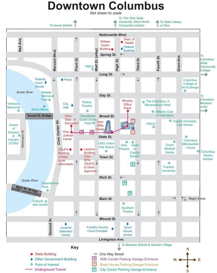 Columbus downtown map