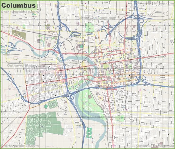 Large detailed map of Columbus