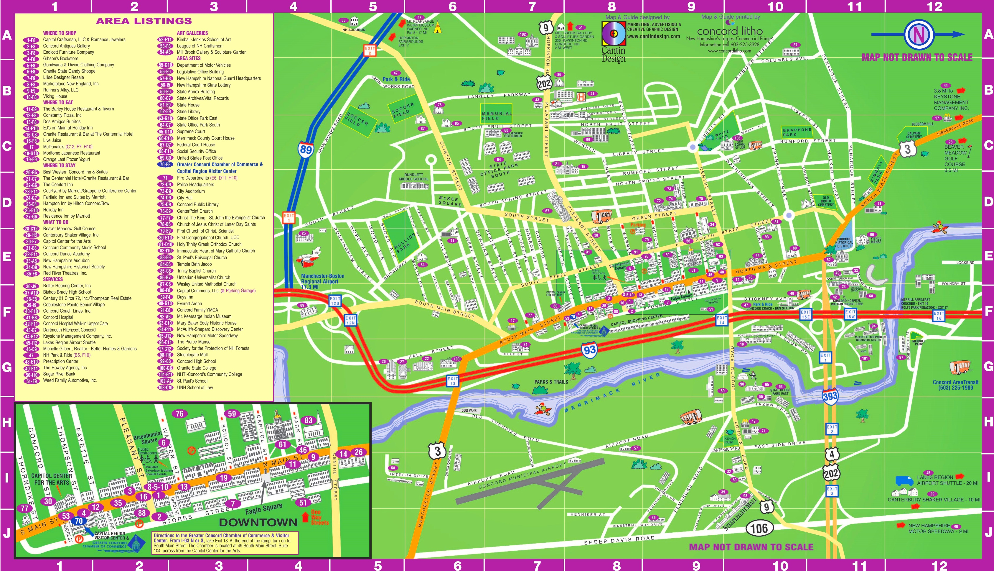 Concord hotels and sightseeings map