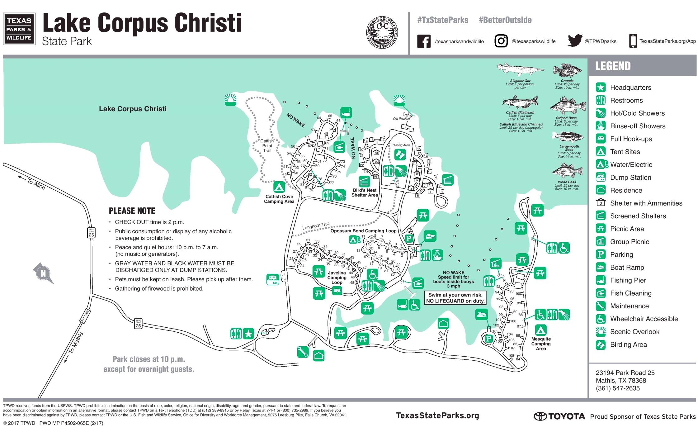 Lake Corpus Christi map on