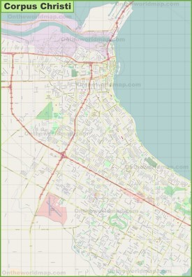 Large detailed map of Corpus Christi