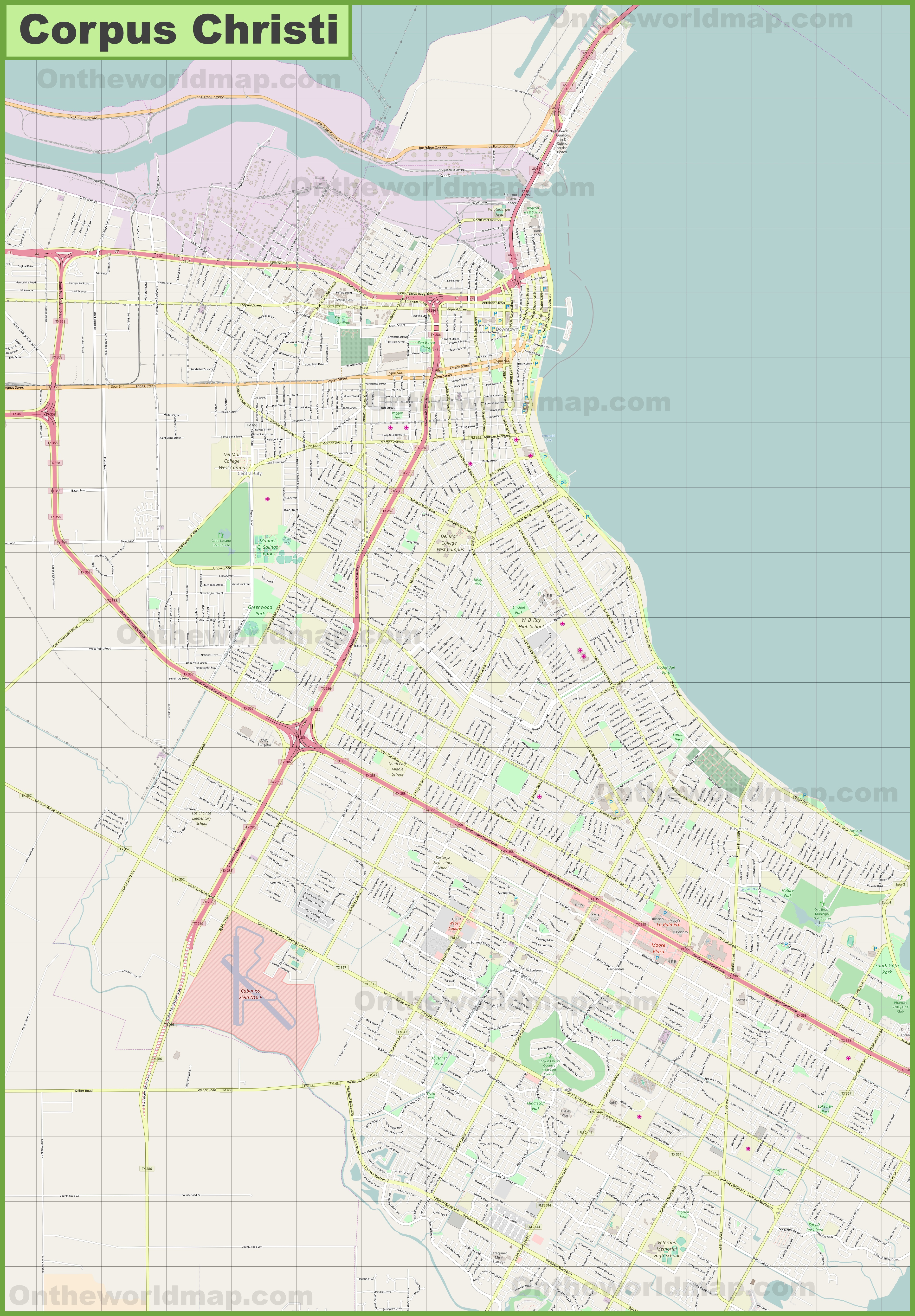 Street Map Of Corpus Christi Texas Large detailed map of Corpus Christi