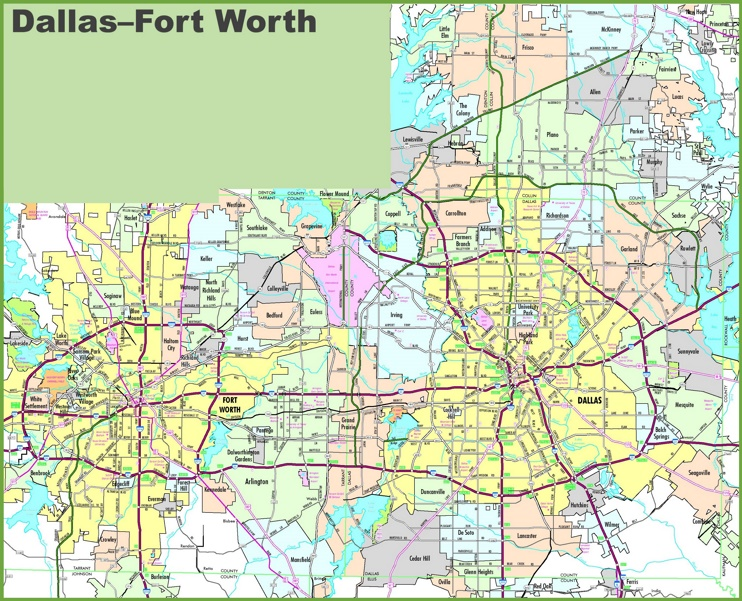 Dallas and Fort Worth map
