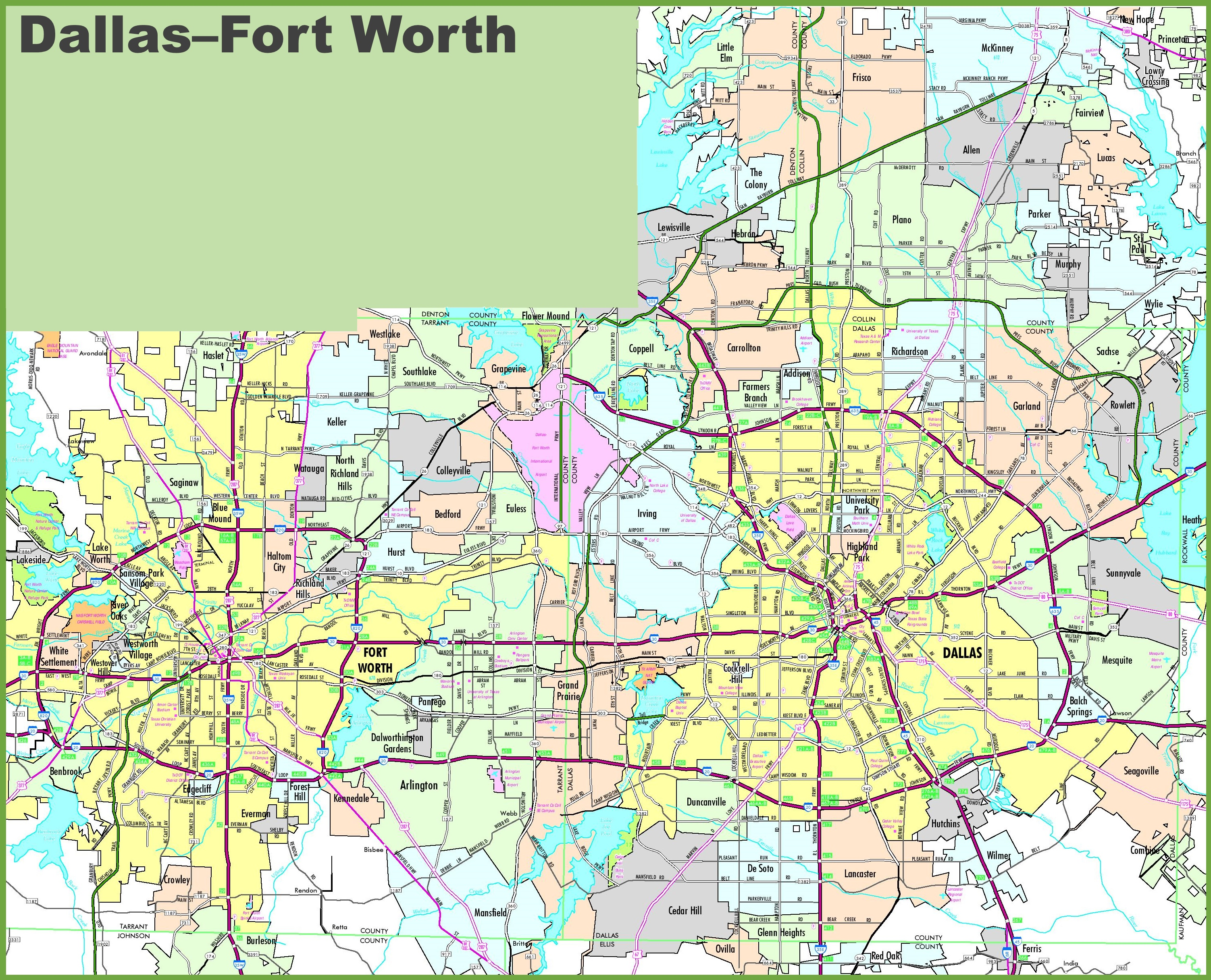 Fort Worth Map Dallas and Fort Worth map Fort Worth Map