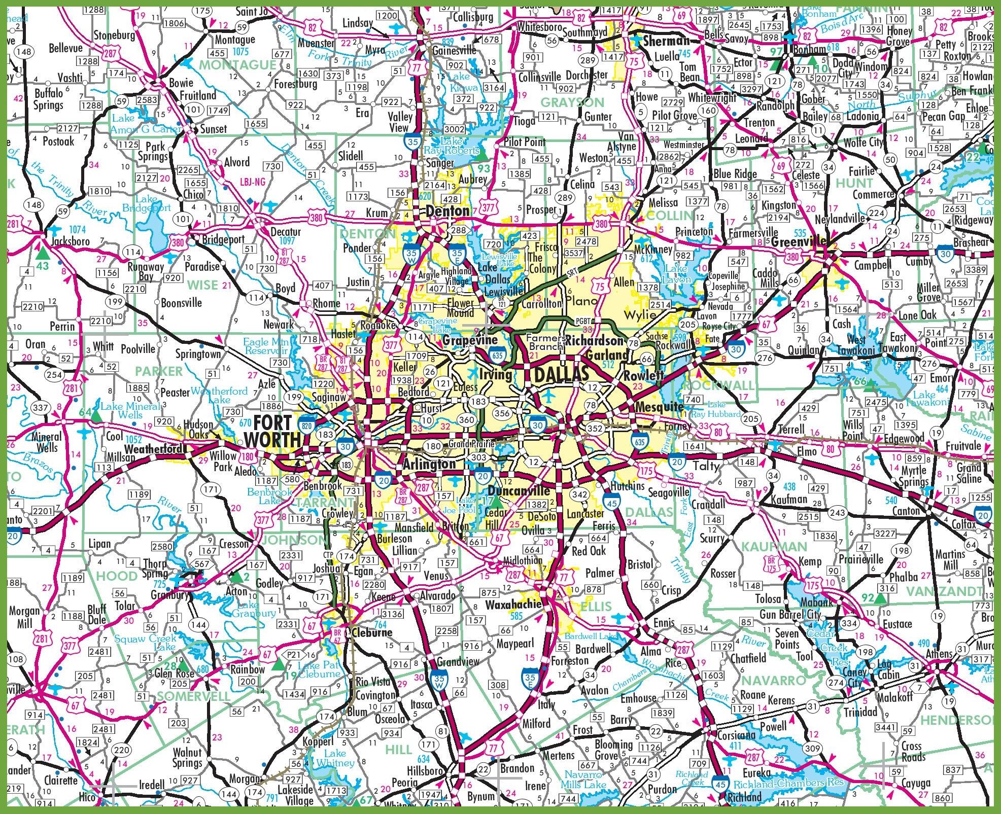 Map Of Dallas Area Dallas area road map Map Of Dallas Area