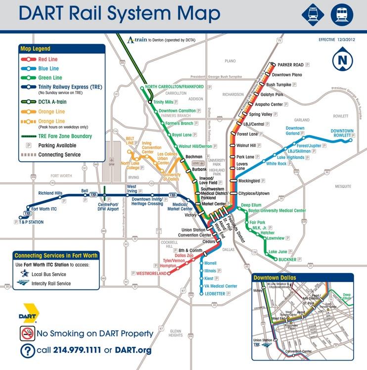 Dallas DART rail map