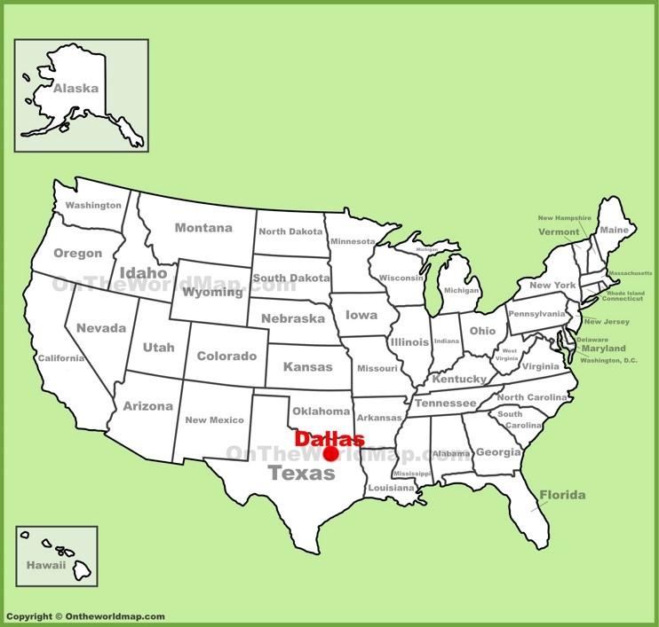 Dallas location on the U.S. Map