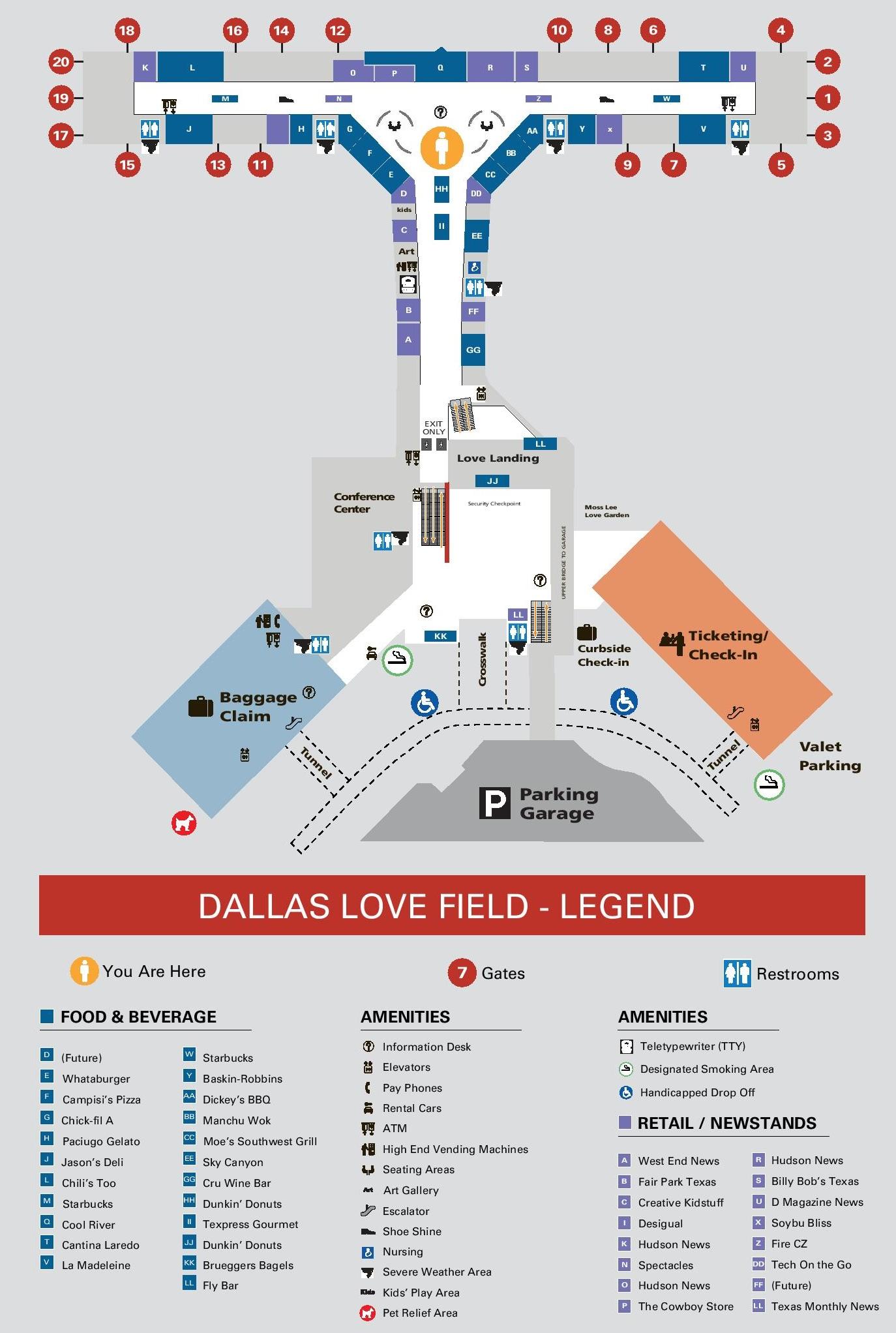 Dallas Love Field Map Dallas Love Field airport map