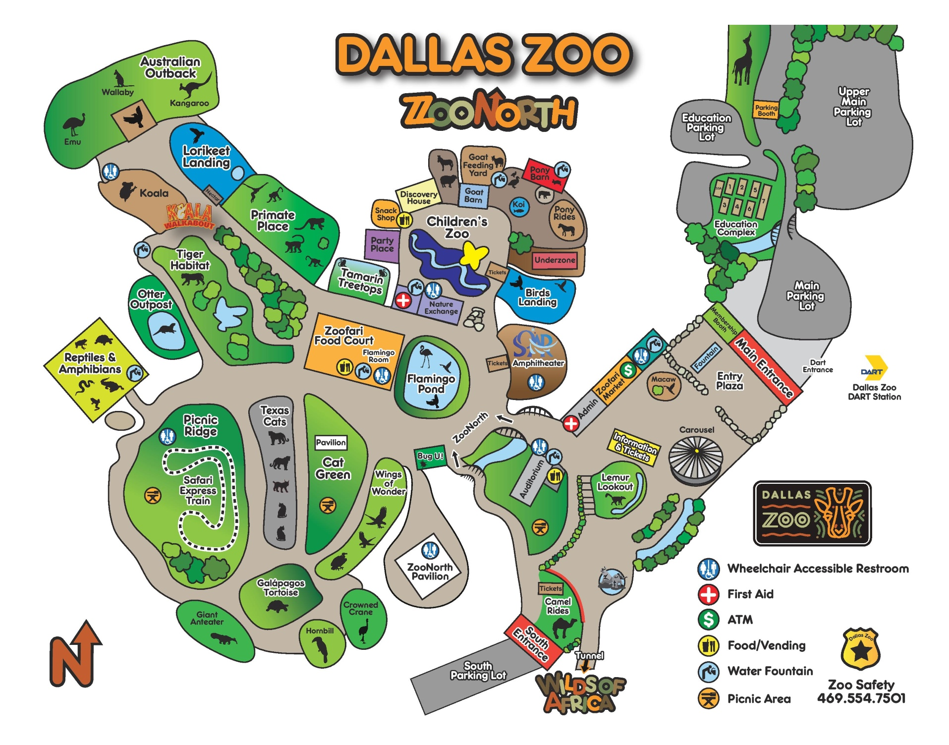 Dallas Zoo map – Dallas Texas Tourist Attractions Map