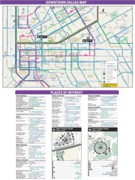 Downtown Dallas transport, hotel and sightseeing map