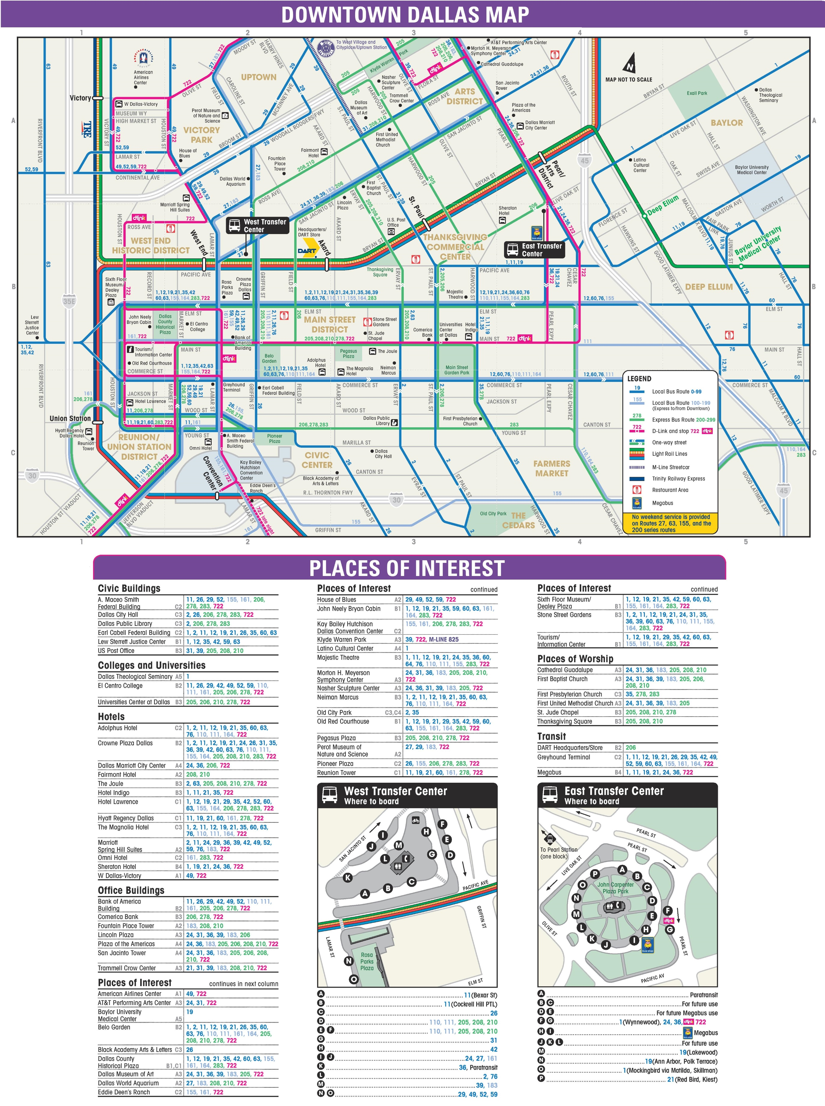 Downtown Dallas transport, hotel and sightseeing map on