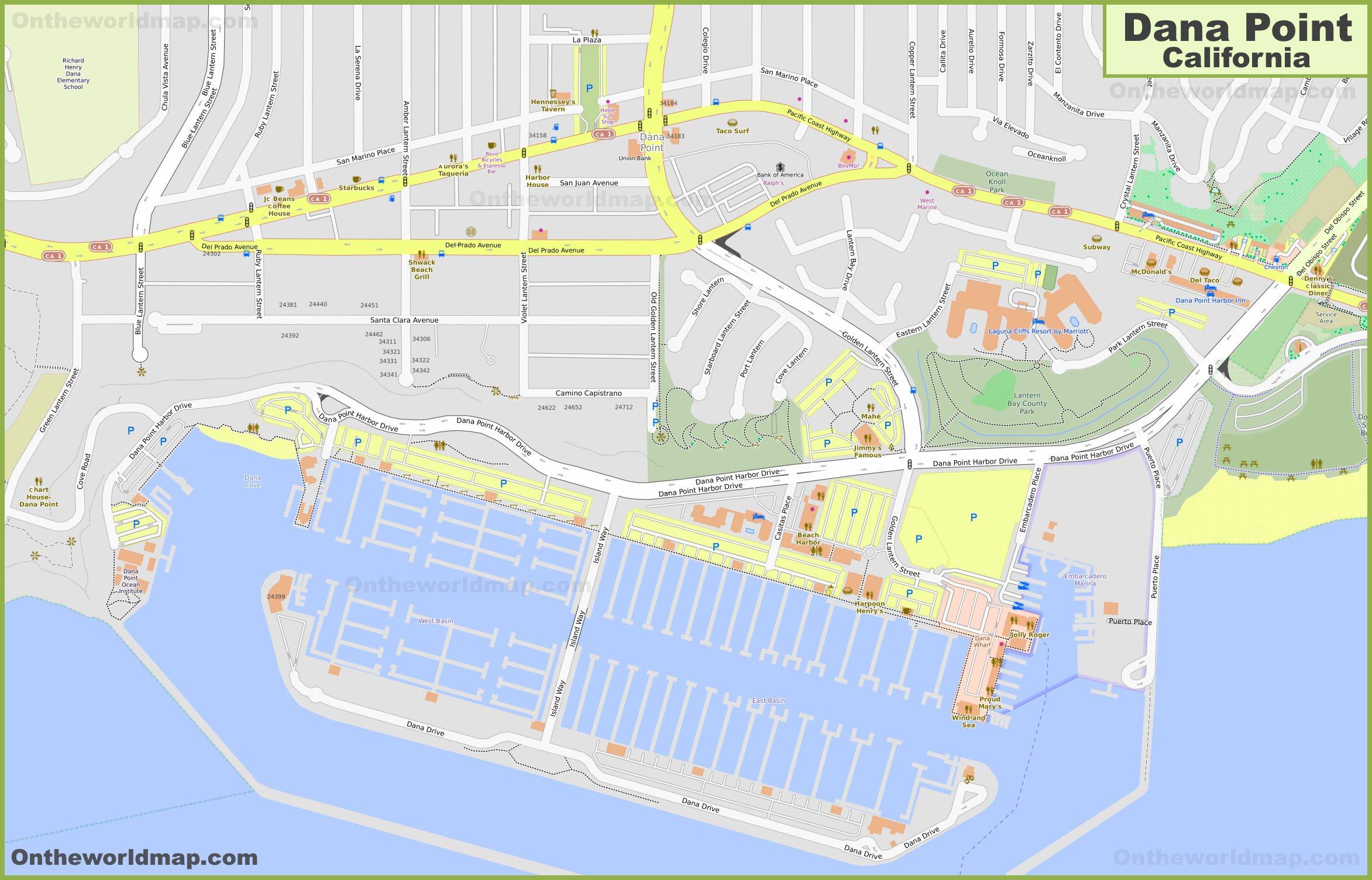 Dana Point City Center Map on