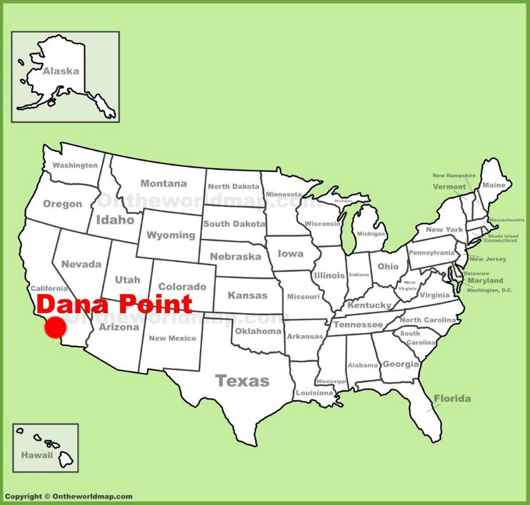 Dana Point location on the U.S. Map