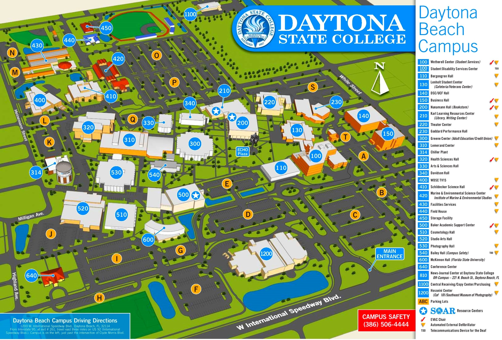 Daytona Beach campus map