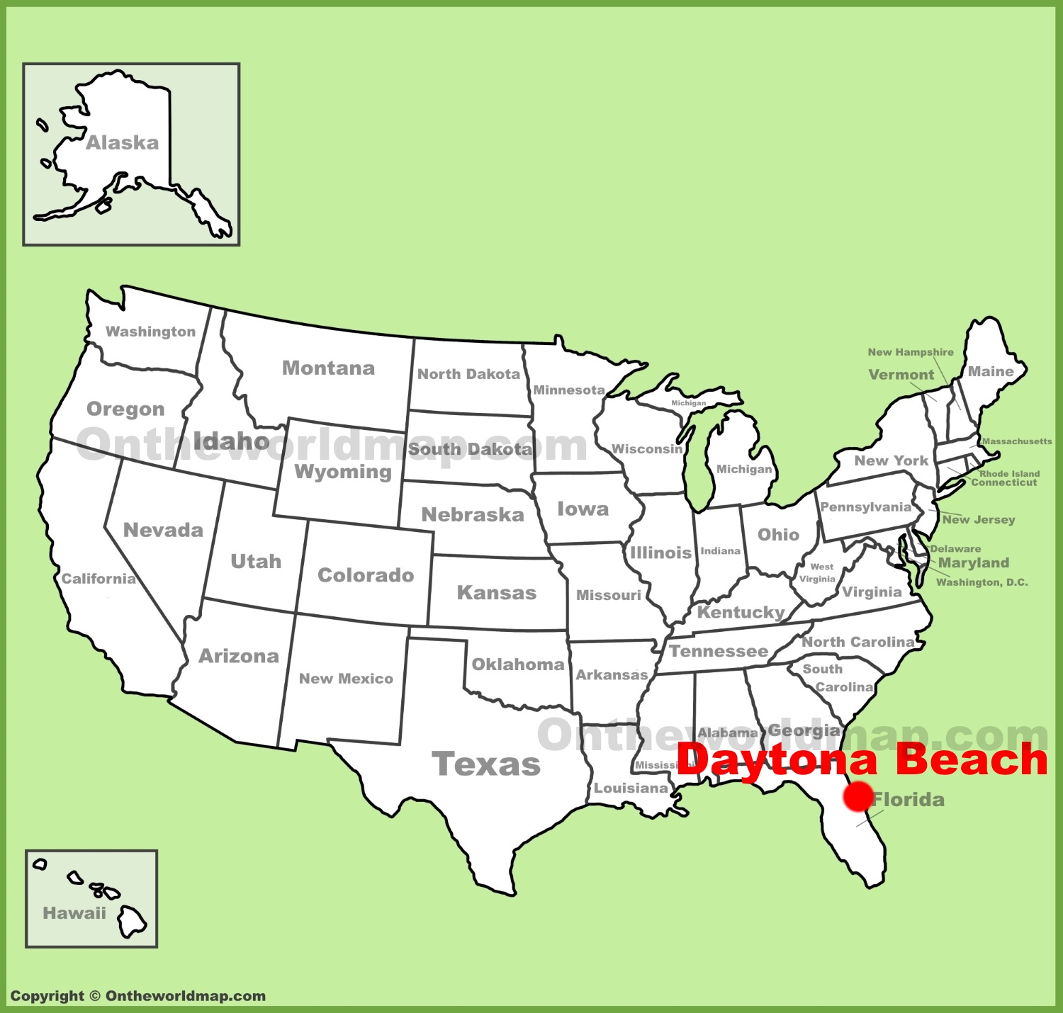 Map Of Florida Showing Daytona Beach.Daytona Beach Location On The U S Map