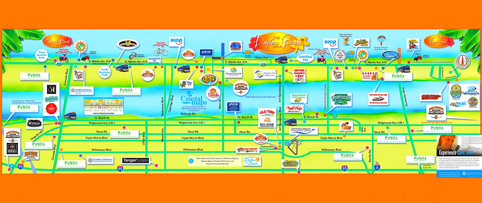 Daytona Beach tourist attractions map