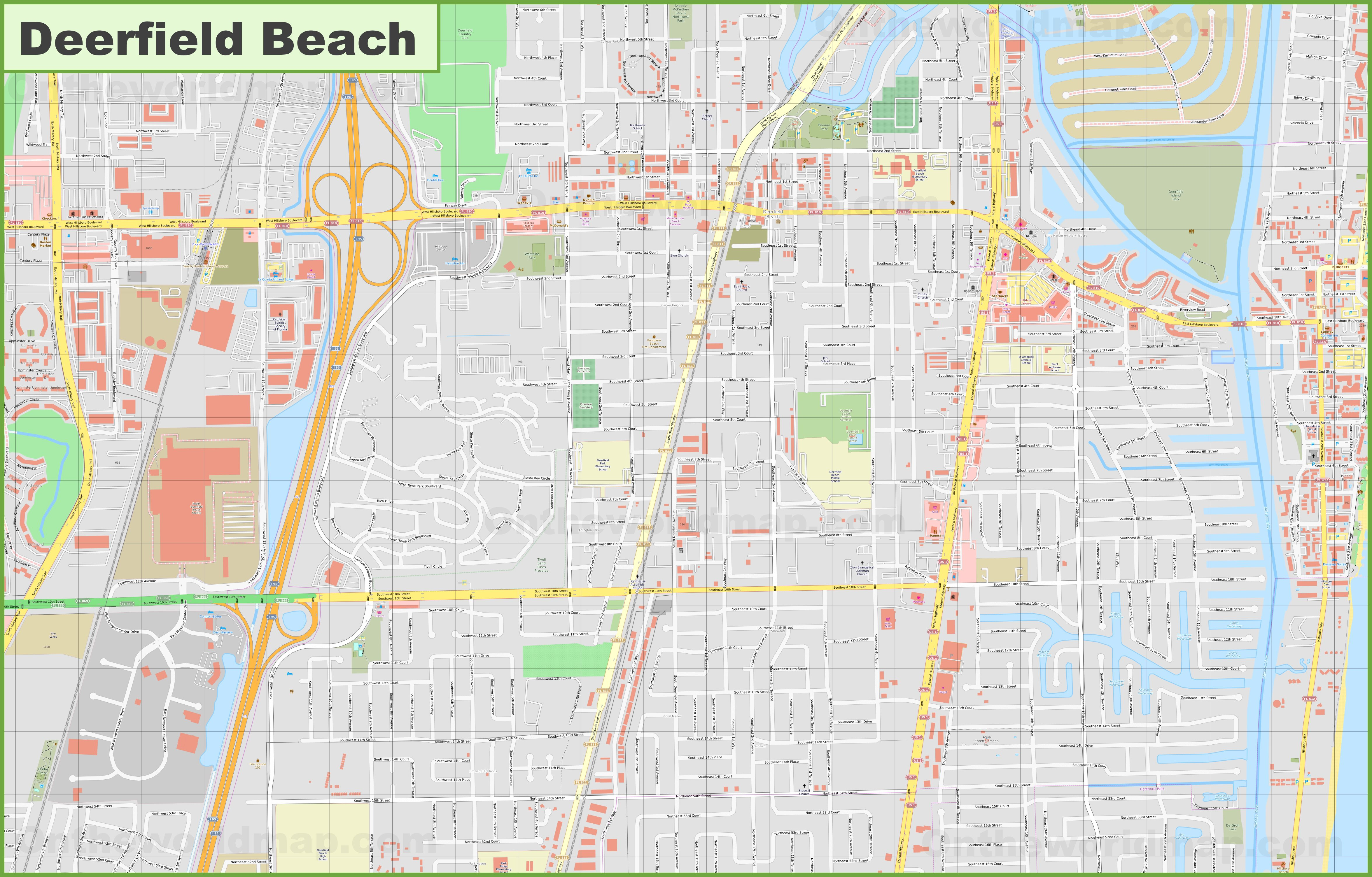 Large detailed map of Deerfield Beach on