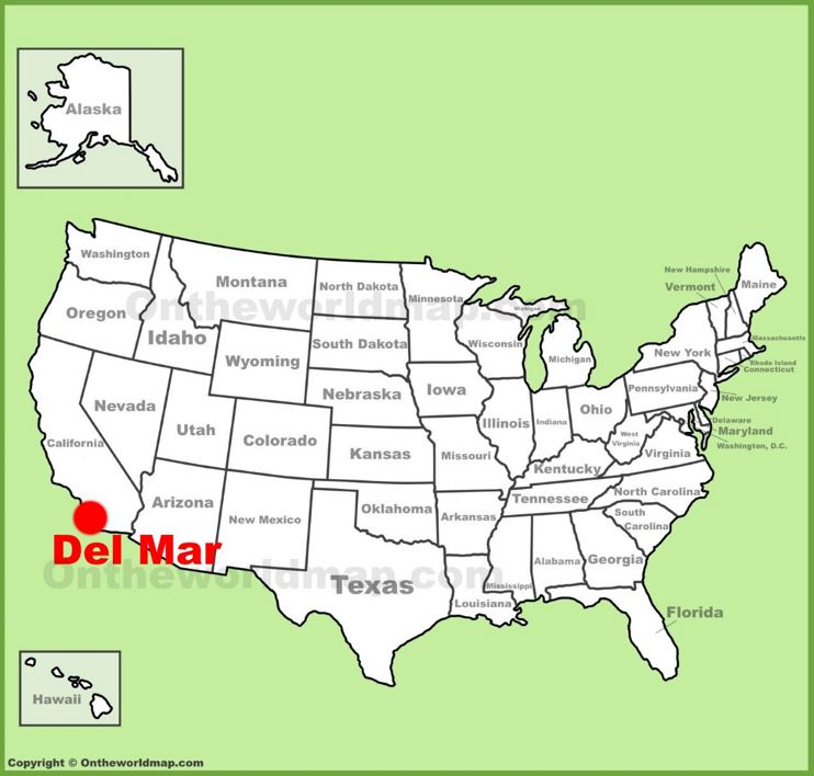 Del Mar location on the U.S. Map