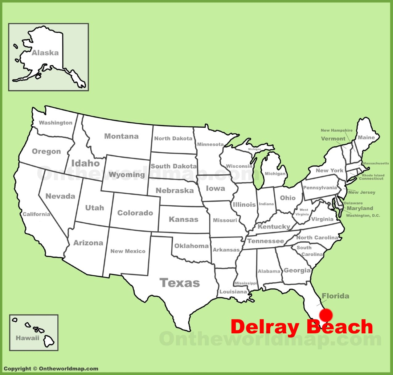 Delray Beach location on the U.S. Map on
