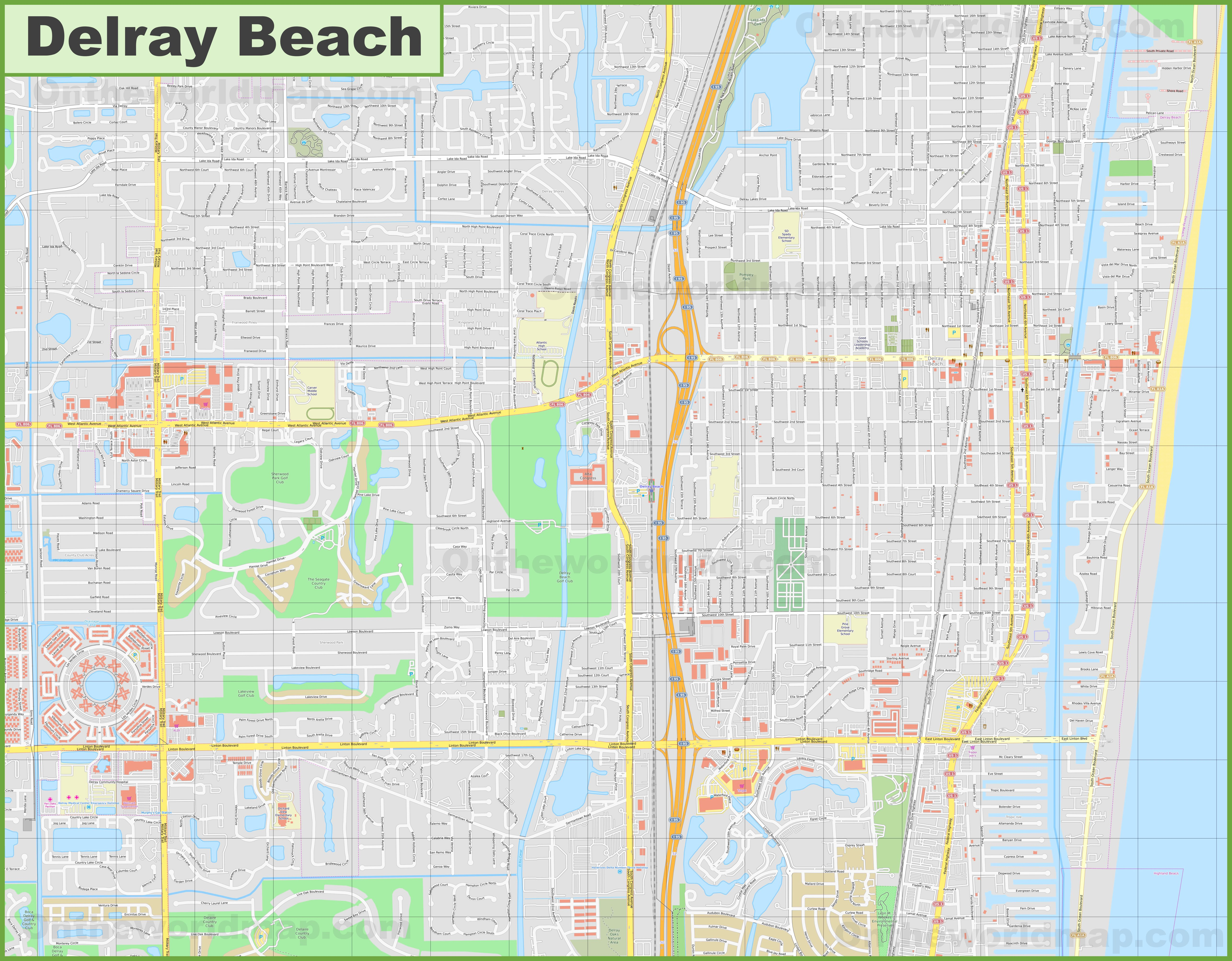 Large detailed map of Delray Beach on