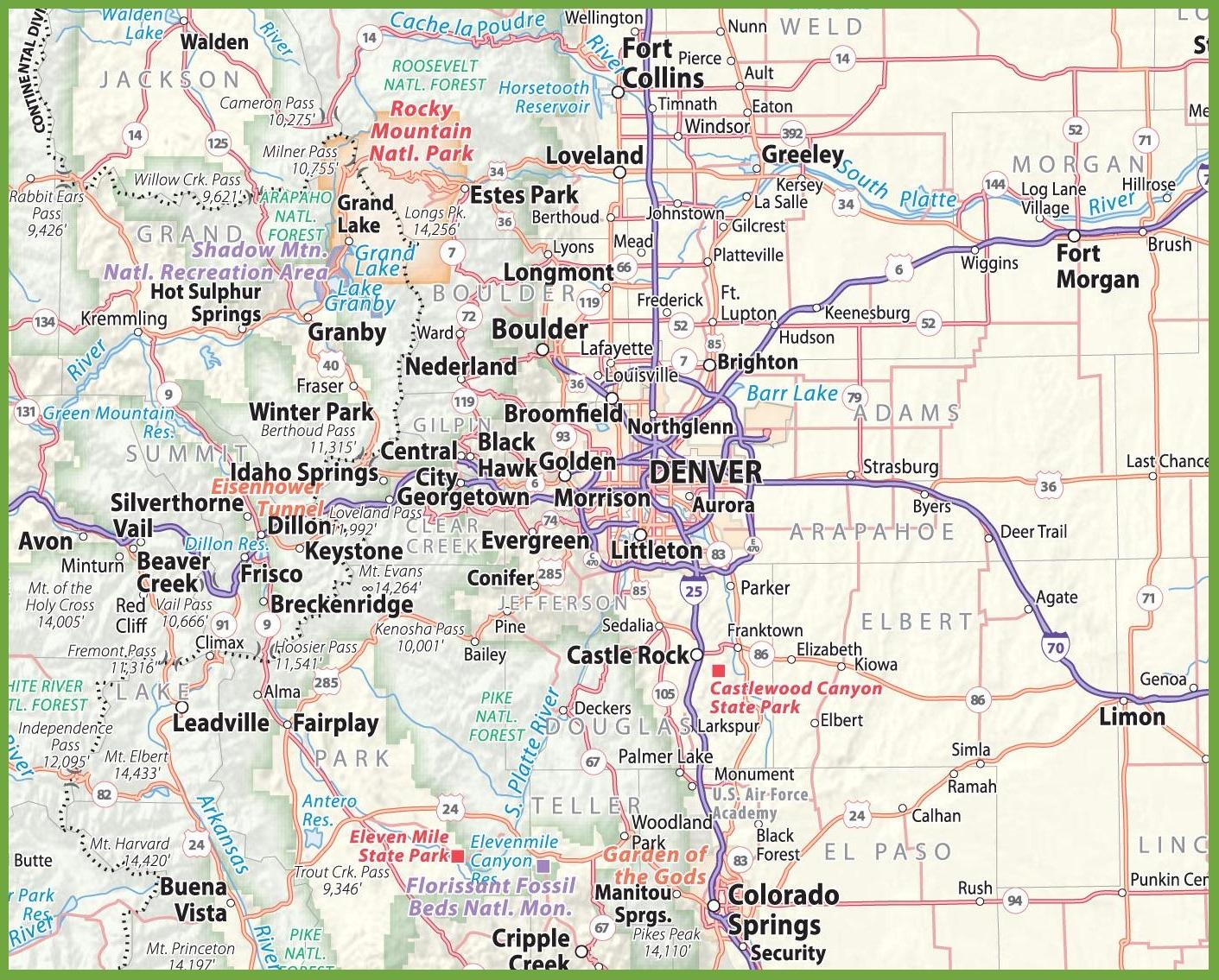 Map Of Denver Co Denver area road map Map Of Denver Co