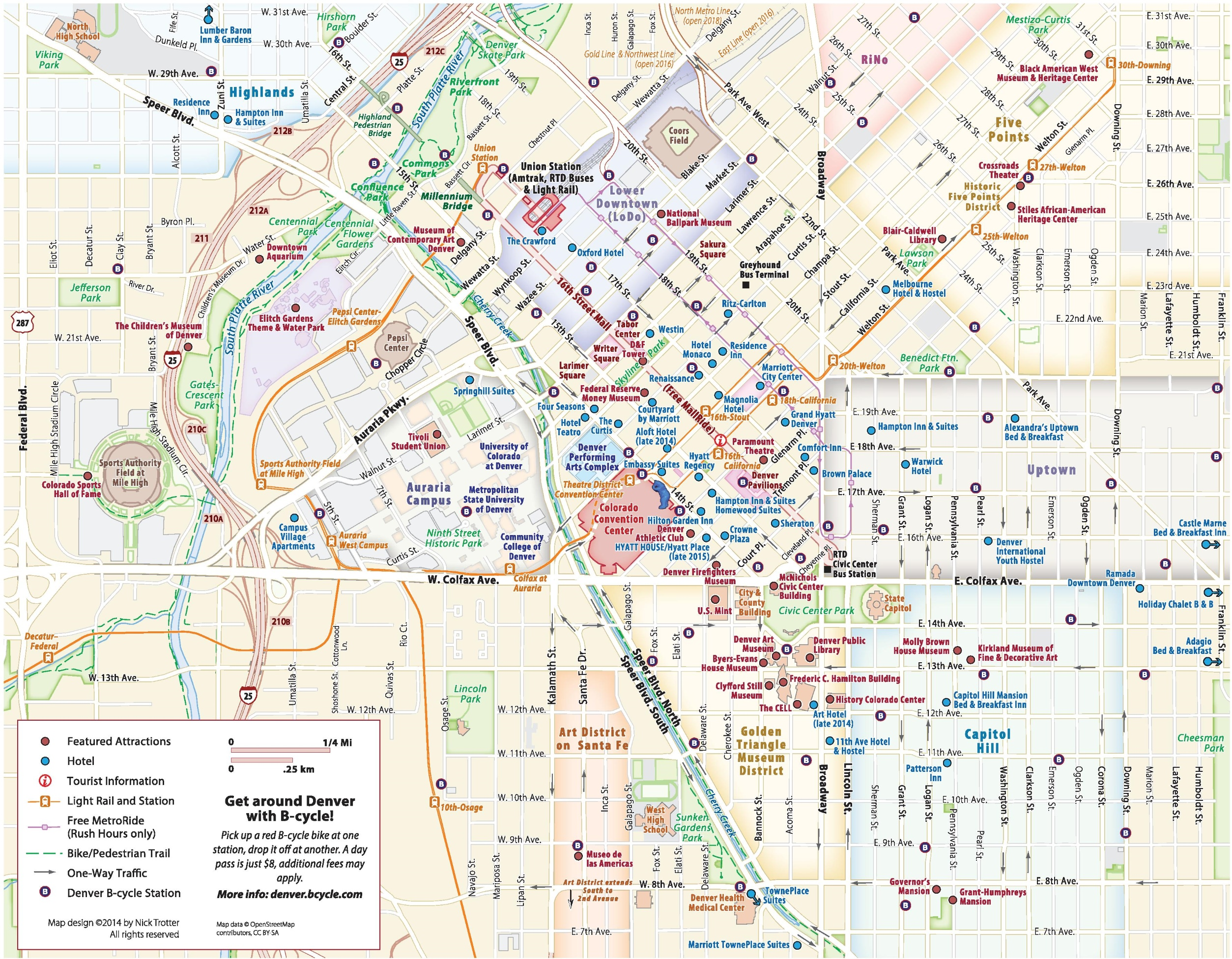 denver downtown hotels and sightseeings map -