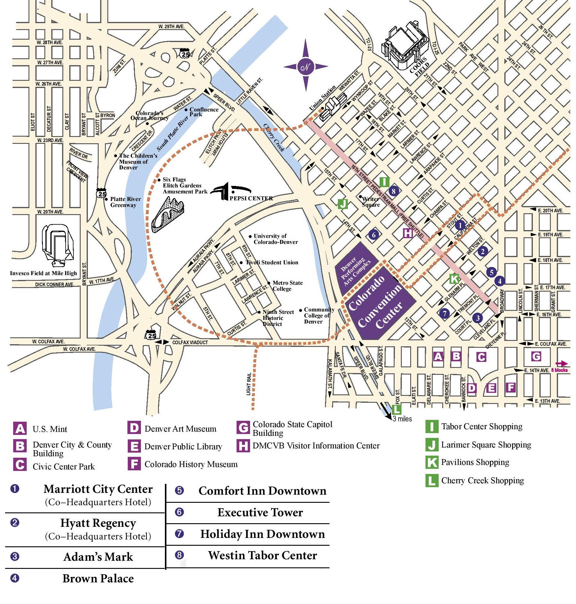 Denver downtown hotels map