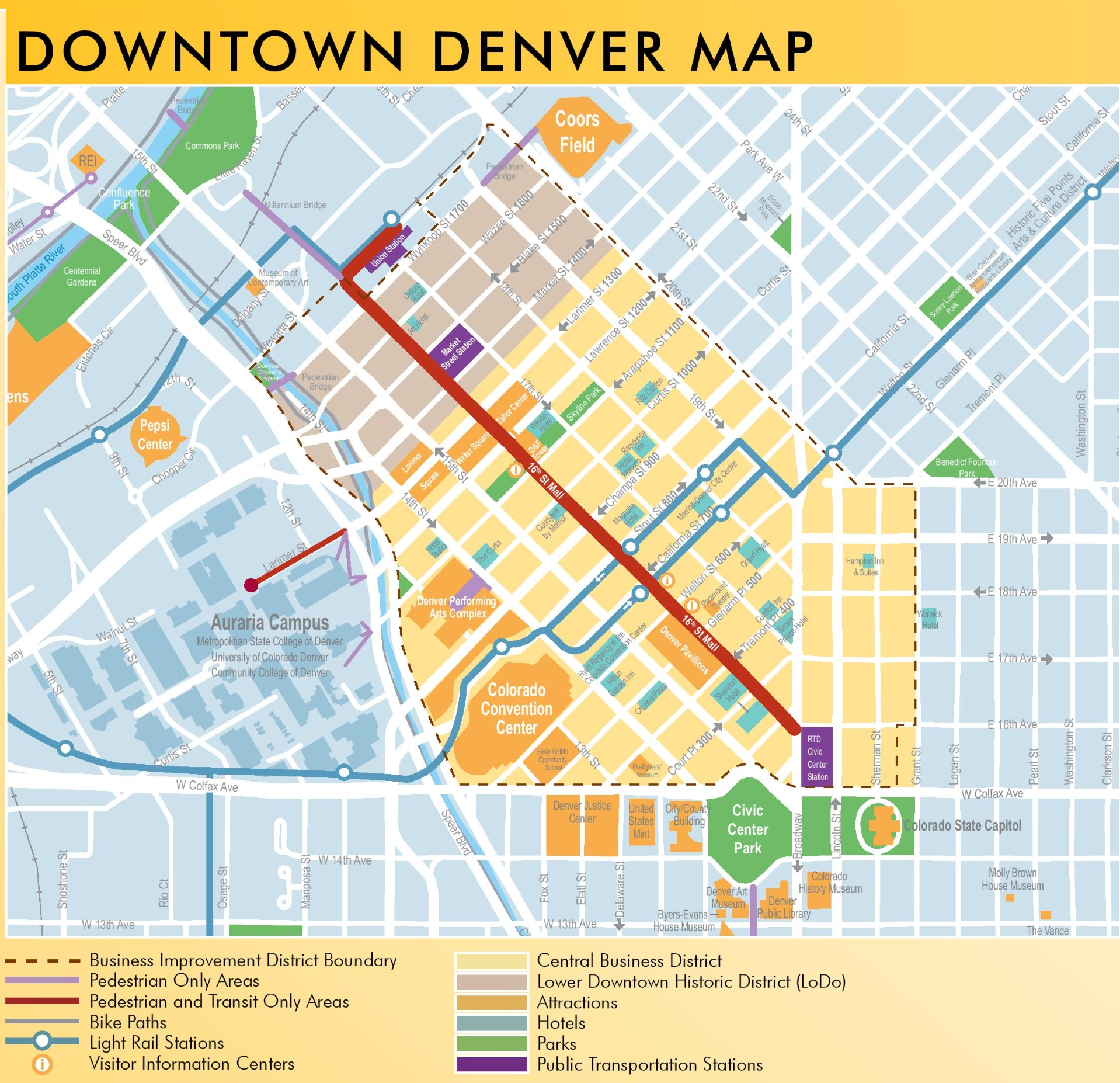 map denver  afputracom - denver downtown map
