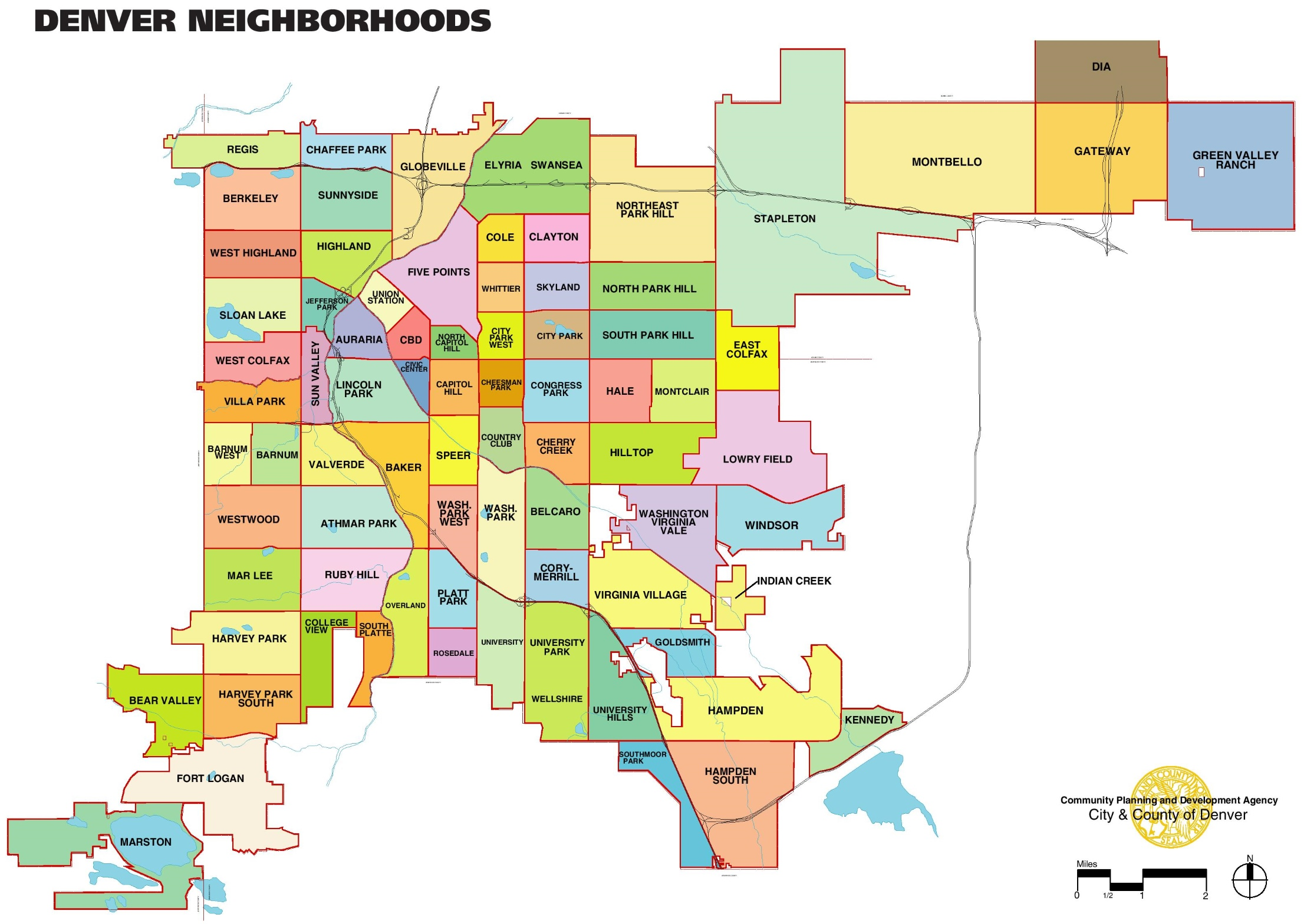 Denver neighbourhood map