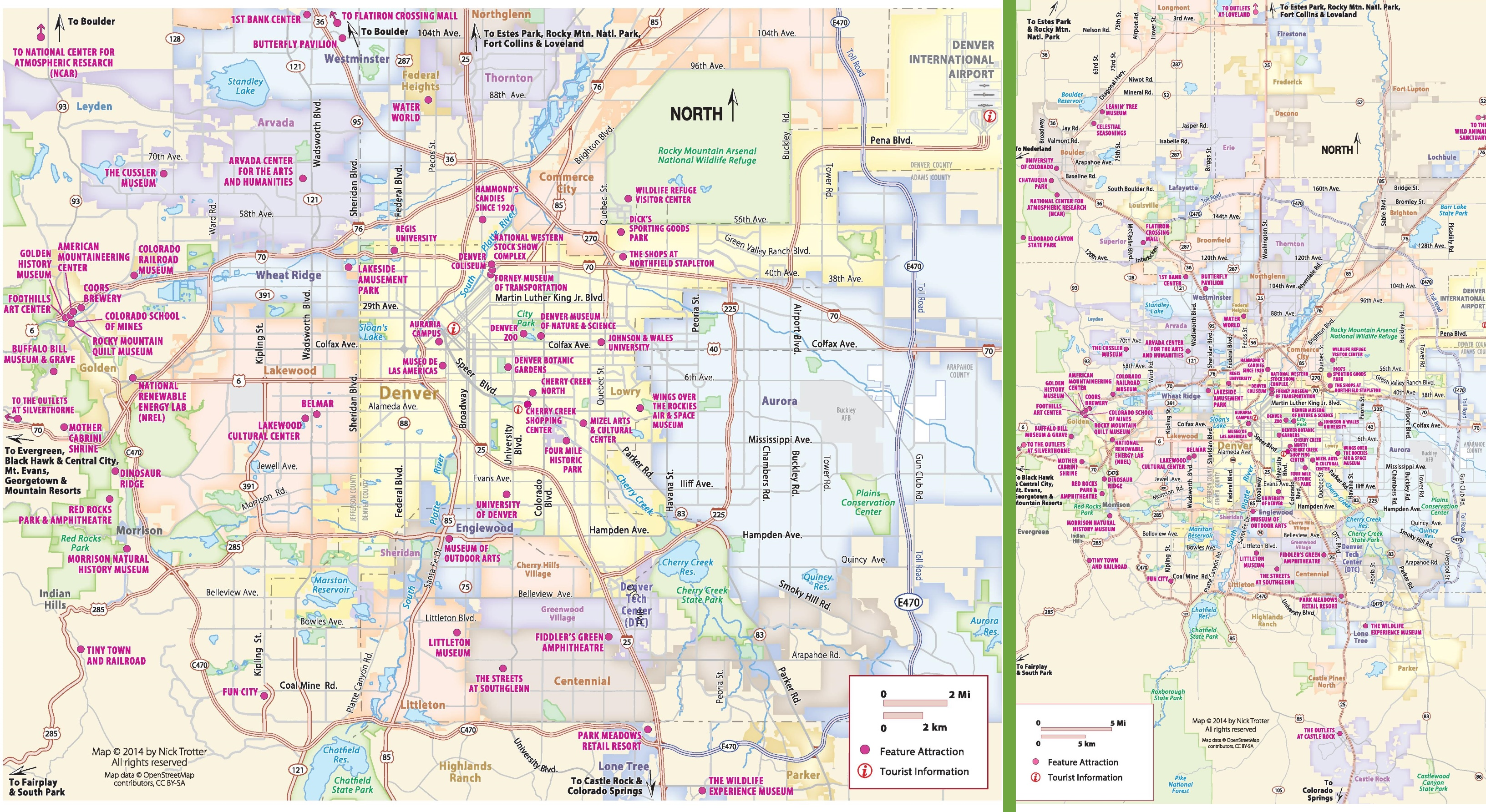 Denver tourist attractions map