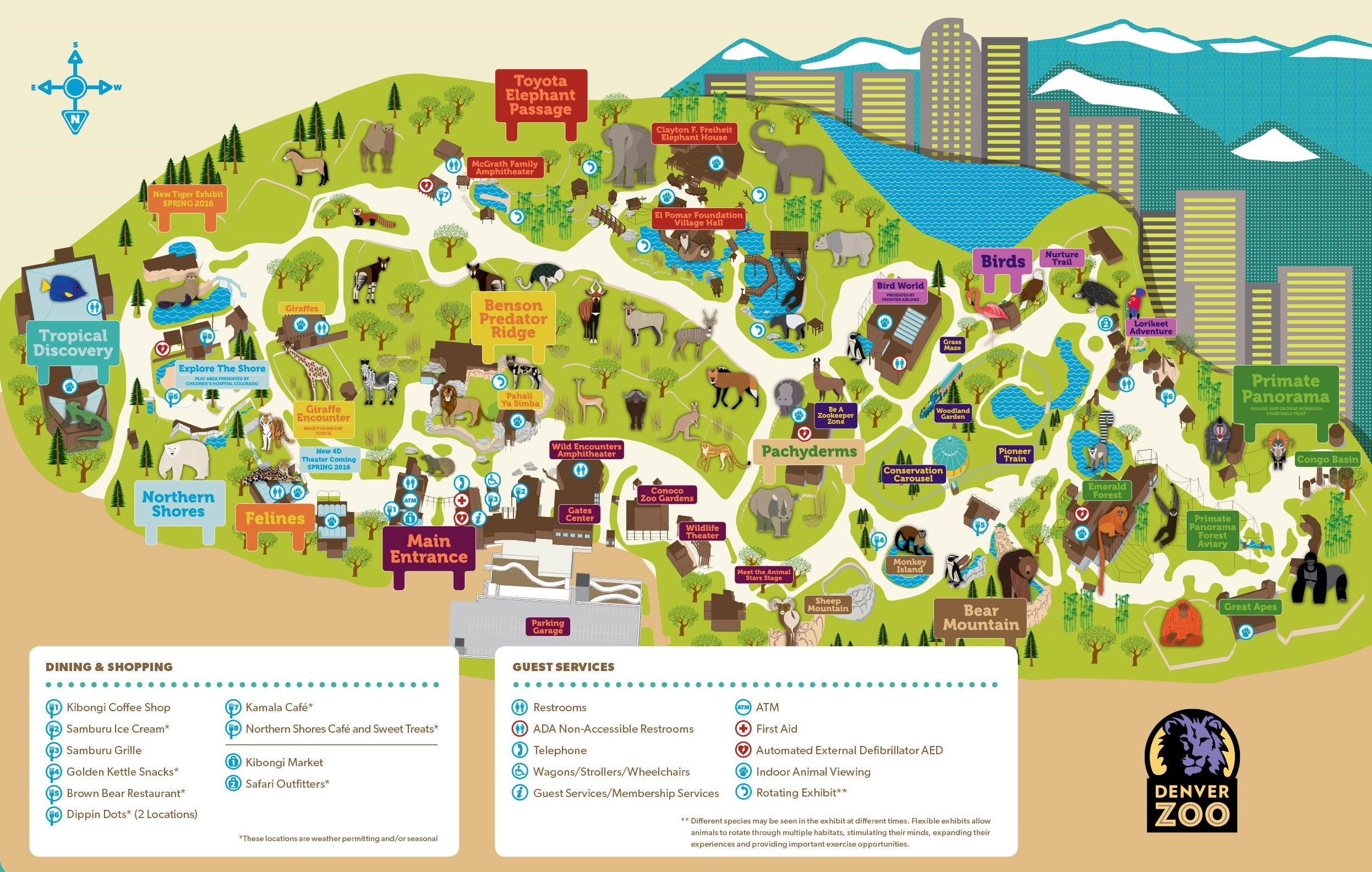 Denver Zoo map – Tourist Attractions Map In Denver Colorado