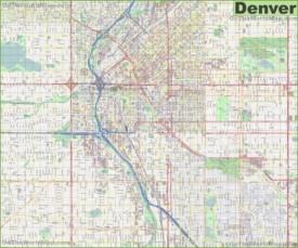Large detailed street map of Denver