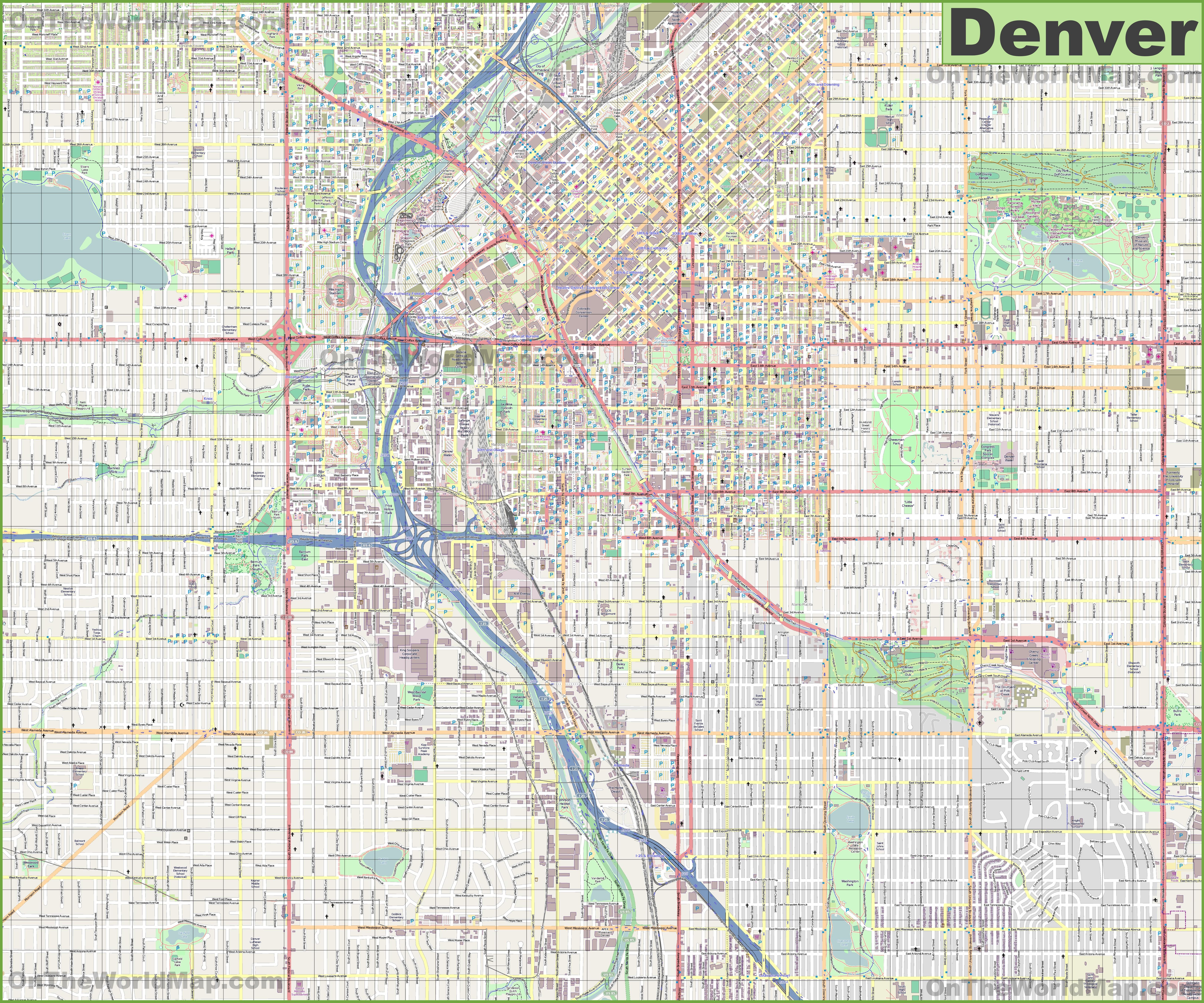 Map Of Denver Colorado Large detailed street map of Denver Map Of Denver Colorado