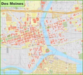 Des Moines downtown map