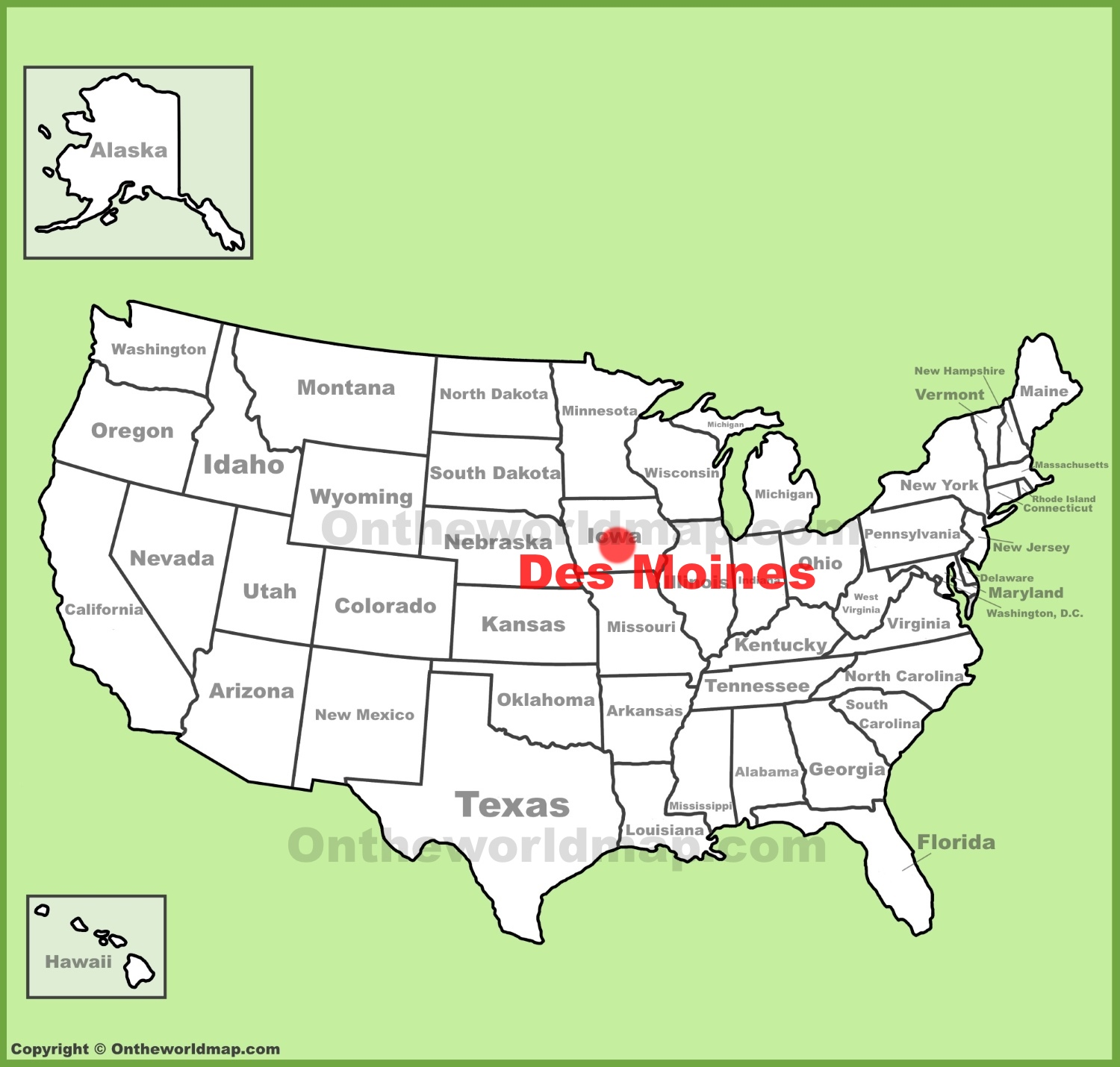Des Moines location on the US Map