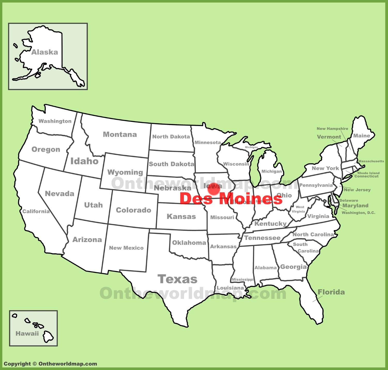 Des Moines Map Des Moines location on the U.S. Map
