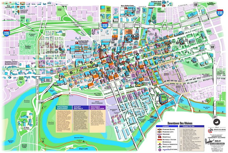 Des Moines tourist attractions map