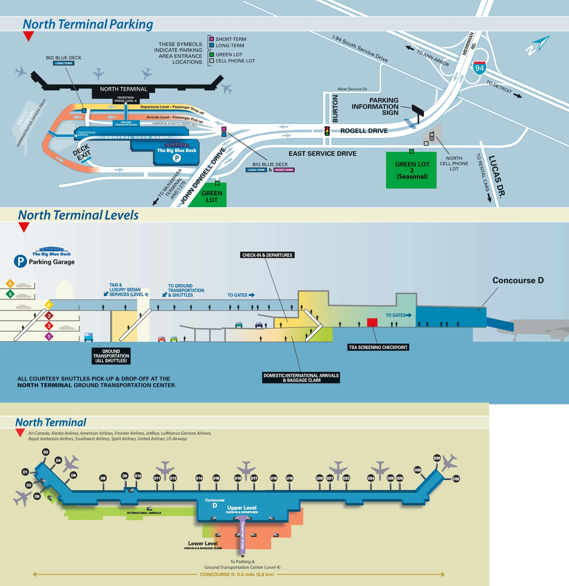 detroit airport north terminal map