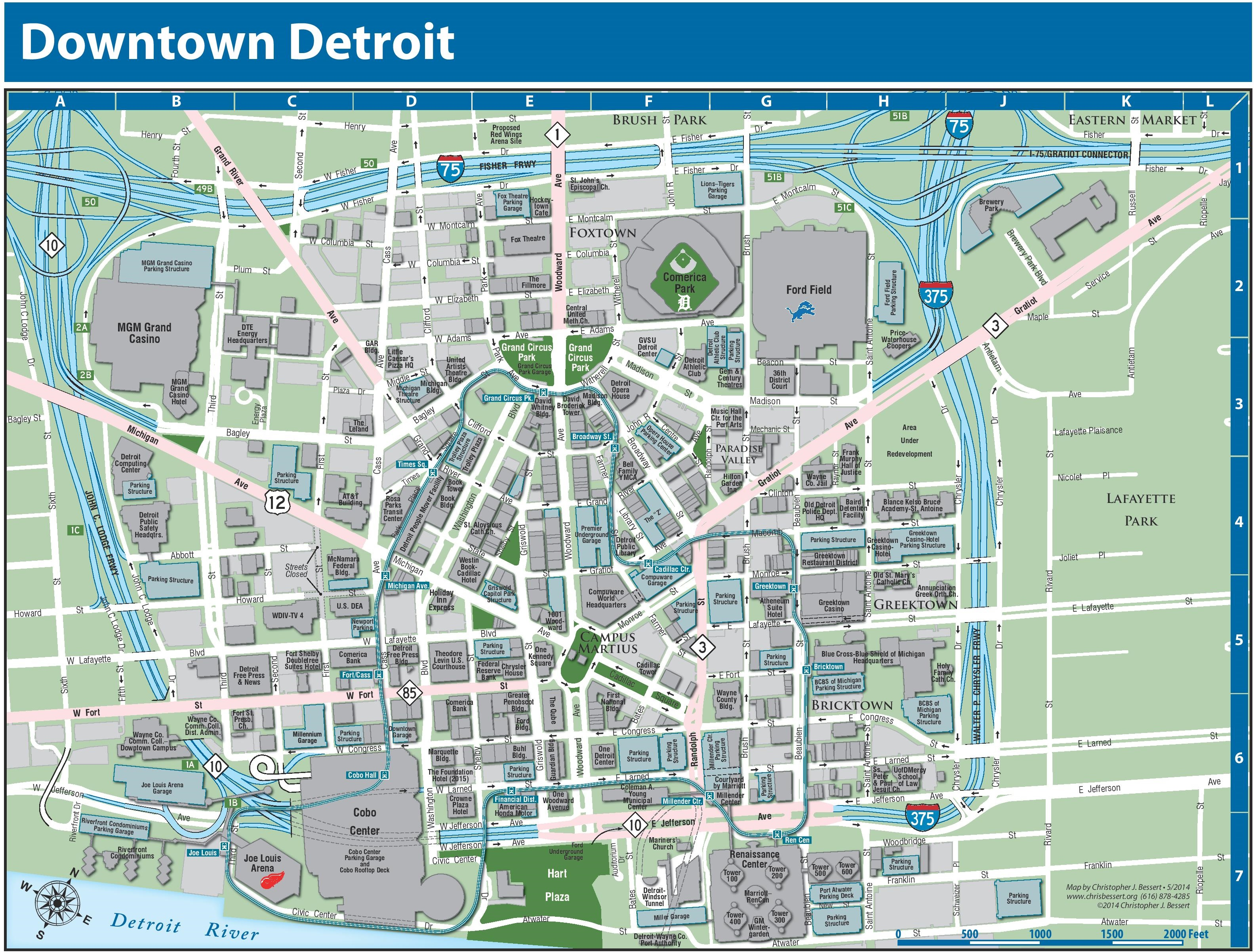 Map Of Downtown Detroit Detroit downtown map