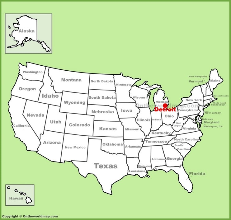 Detroit location on the U.S. Map