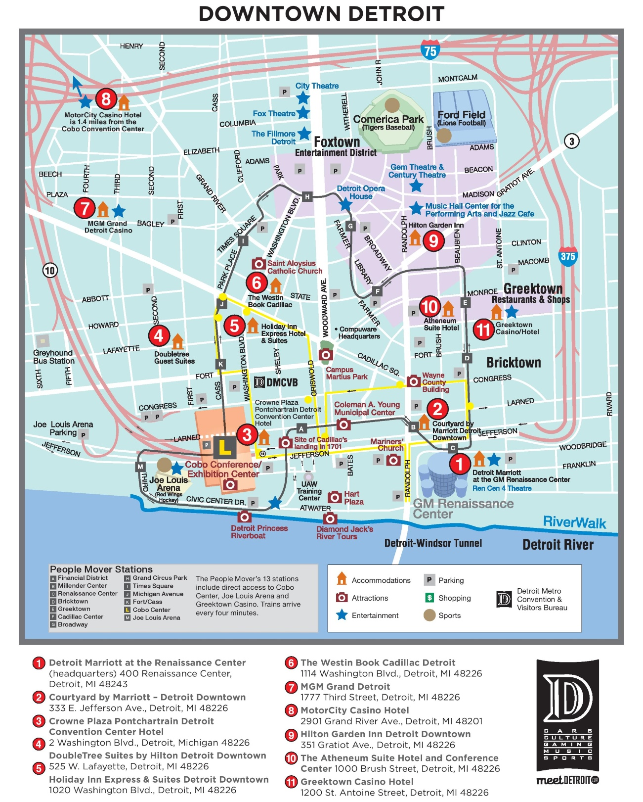Detroit tourist attractions map – Tourist Attractions Map In Detroit
