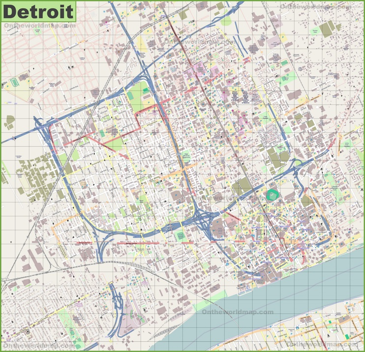 Large detailed map of Detroit