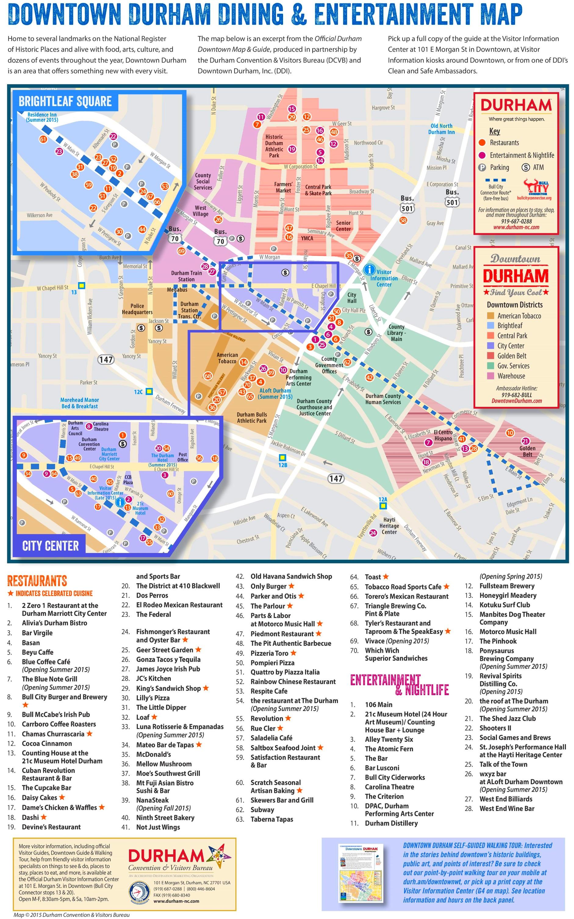 Durham Entertainment And Restaurants Map