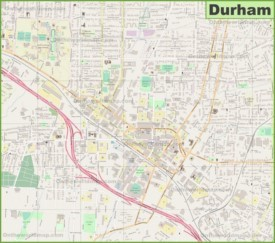 Large detailed map of Durham