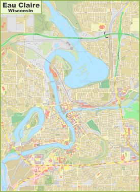 Large detailed map of Eau Claire