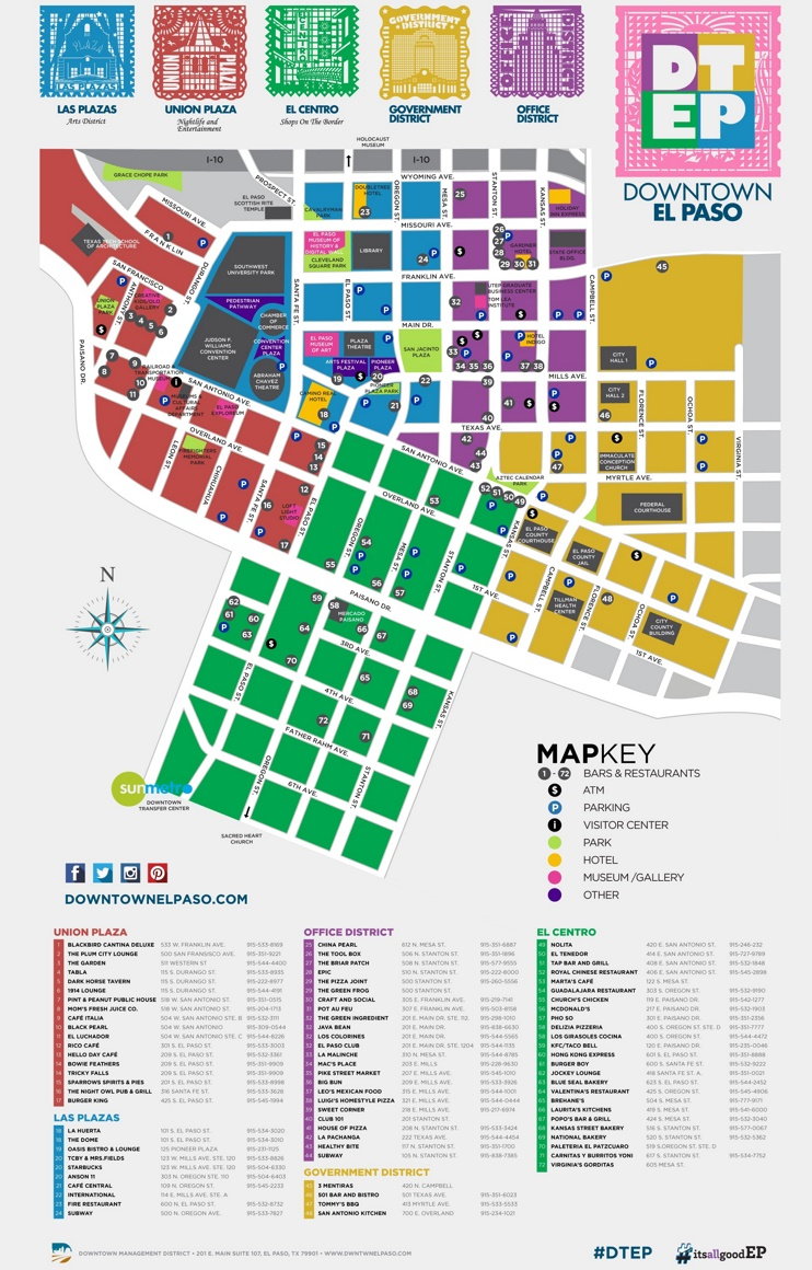 El Paso tourist attractions map – El Paso Tourist Attractions Map