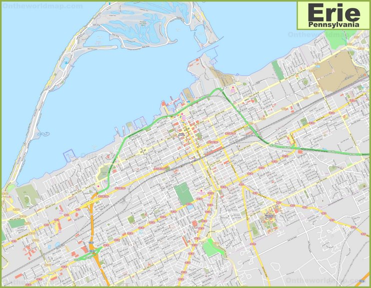 Large detailed map of Erie